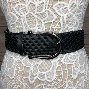 MICHAEL KORS Black Braided Leather Silver Belt